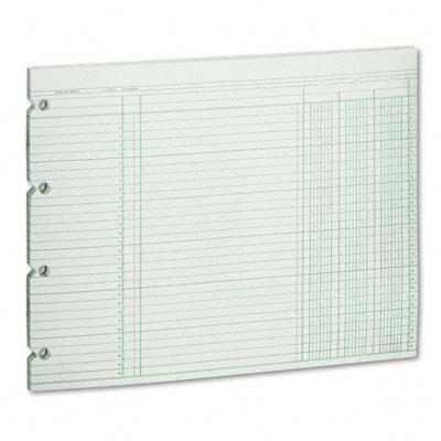 Accounting Sheets, 3 Cols, 9-1/4 x 11-7/8 , 100 Loose Sheets/Pack, Green