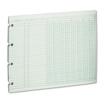 Accounting Sheets, 8 Cols, 9-1/4 x 11-7/8 , 100 Loose Sheets/Pack, Green