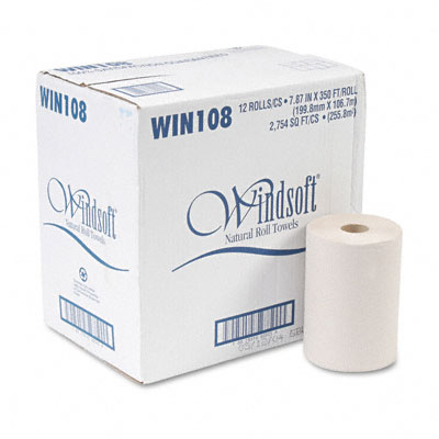 Nonperforated Paper Towel Roll, 8 x 350`, Natural, 12/Carton - WNS108