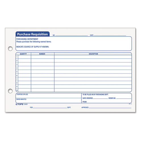 Top32431 Tops Purchasing Requisition Pad 5 1 2 X 8 1 2 100 Pad 2 Pack Top 32431