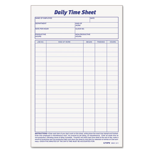 Top Daily Employee Time And Job Sheet Employee Time Card