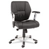 Alera® Napoleon Series Mid-Back Knee Tilt Multifunction Petite Leather Chair | www.SelectOfficeProducts.com