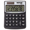 Victor 1000 Minidesk Calculator, Solar/Battery, 8-Digit LCD