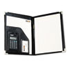 Pad Holder w/Calculator, Vinyl/Pewter Corners, File Slots, Writing Pad, Black
