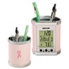 Plastic Pencil Cup with LCD Display, 3 1/2 x 3 x 4, Pink/Chrome
