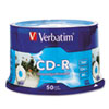 Verbatim CD-R Discs, 700MB/80min, 52x, Spindle, Silver, 50/Pack