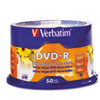 Verbatim Inkjet Printable DVD-R Discs, 4.7GB, 16x, Spindle, White, 50/Pack