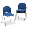 IQ Series Stack Chair, 17-1/2&quot; Seat Height, Navy/Chrome, 4/Carton