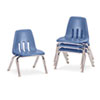 "9000 Series Classroom Chairs, 10"" Seat Height, Blueberry/Chrome, 4/Carton"
