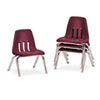 "9000 Series Classroom Chairs, 10"" Seat Height, Wine/Chrome, 4/Carton"