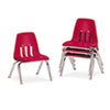 9000 Series Classroom Chairs, 10&quot; Seat Height, Red/Chrome, 4/Carton
