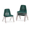 "9000 Series Classroom Chairs, 10"" Seat Height, Forest Green/Chrome, 4/Carton"