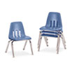 "9000 Series Classroom Chairs, 12"" Seat Height, Blueberry/Chrome, 4/Carton"