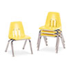 "9000 Series Classroom Chairs, 12"" Seat Height, Squash/Chrome, 4/Carton"