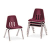 9000 Series Classroom Chairs, 12&quot; Seat Height, Wine/Chrome, 4/Carton
