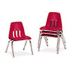 9000 Series Classroom Chairs, 12&quot; Seat Height, Red/Chrome, 4/Carton