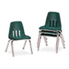 "9000 Series Classroom Chairs, 12"" Seat Height, Forest Green/Chrome, 4/Carton"