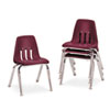 "9000 Series Classroom Chairs, 14"" Seat Height, Wine/Chrome, 4/Carton"