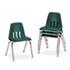 "9000 Series Classroom Chairs, 14"" Seat Height, Forest Green/Chrome, 4/Carton"