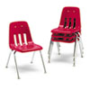 "9000 Series Classroom Chairs, 16"" Seat Height, Red/Chrome, 4/Carton"