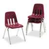 9000 Series Classroom Chair, 18&quot; Seat Height, Wine/Chrome, 4/Carton