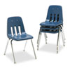9000 Series Classroom Chair, 18&quot; Seat Height, Navy/Chrome, 4/Carton
