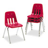 9000 Series Classroom Chair, 18&quot; Seat Height, Red/Chrome, 4/Carton
