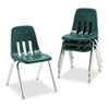 9000 Series Classroom Chair, 18&quot; Seat Height, Forest Green/Chrome, 4/Carton