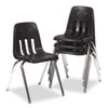 9000 Series Classroom Chair, Black/Chrome Frame, 4/Carton