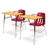 9400 Series Chair Desk, 21w x 33-1/2d x 30h, Medium Oak/Red, 2/Carton
