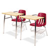 9400 Series Chair Desk, 21w x 33-1/2d x 30h, Fusion Maple/Red, 2/Carton