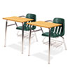 9400 Series Chair Desk, 21w x 33-1/2d x 30h, Medium Oak/Forest Green, 2/Carton
