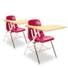 9700 Series Chair Desk, 18-3/4w x 31d x 30-1/2h, Fusion Maple/Red, 2/Carton
