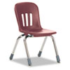 "Metaphor Series Classroom Chair, 12-1/2"" Seat Height, Wine/Chrome, 5/Carton"