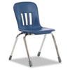 "Metaphor Series Classroom Chair, 16-1/2"" Seat Height, Navy Blue/Chrome, 4/Carton"