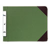 Canvas Sectional Post Binder, 11 x 8-1/2, 4-1/4 Center, Green