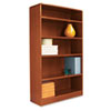 Radius Corner Wood Veneer Bookcase, 5-Shelf, 35-3/8 x 11-3/4 x 60, Medium Cherry
