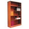 Radius Corner Wood Veneer Bookcase, Five-Shelf, 35-5/8 x 11-3/4 x 60, Medium Oak