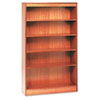 Square Corner Wood Veneer Bookcase, 5-Shelf, 35-3/8w x 11-3/4d x 60h, Medium Oak