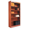 Square Corner Wood Veneer Bookcase, 6-Shelf, 35-3/8 x 11-3/4 x 72, Medium Cherry