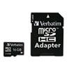 Verbatim microSDHC Card w/Adapter, Class 4, 16GB
