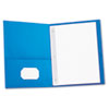 Two-Pocket Portfolios w/Tang Fasteners, 11 x 8-1/2, Light Blue, 25/Box