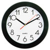 Universal Round Wall Clock, 9-3/4in, Black