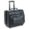 Rolling Laptop Case/Overnighter, Leather, 15-1/2 x 10 x 14, Black