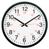 24-Hour Round Wall Clock, 12 3/4 &quot;, Black