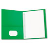 Two-Pocket Portfolios w/Tang Fasteners, 11 x 8-1/2, Green, 25/Box