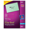 Avery Easy Peel Mailing Labels For Inkjet Printers, 2 x 4, Clear, 100/Pack