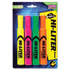 HI-LITER Desk Style Highlighter, Chisel Tip, Fluorescent Yellow/Orange/Green/Pink, 4/Set