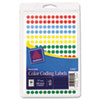Removable Self-Adhesive Color-Coding Labels, 1/4in dia, Assorted, 768/Pack