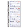 TOPS Money/Rent Receipt Spiral Book, 2-3/4 x 4 3/4, 2-Part Carbonless, 200 Sets/Book